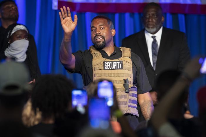 Kanye West makes his first presidential campaign appearance, in North Charleston, S.C.