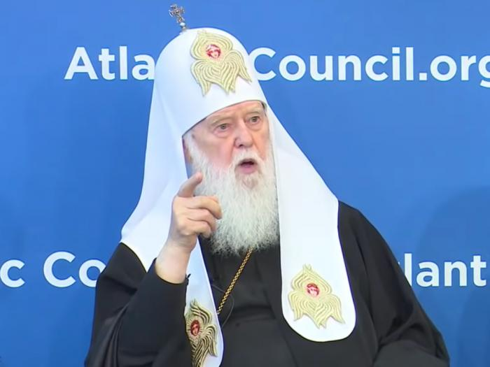 Honorary Patriarch of the Orthodox Church of Ukraine Filaret, seen in a YouTube video