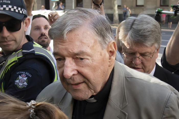 Cardinal George Pell arrives at the County Court in Melbourne, Australia.