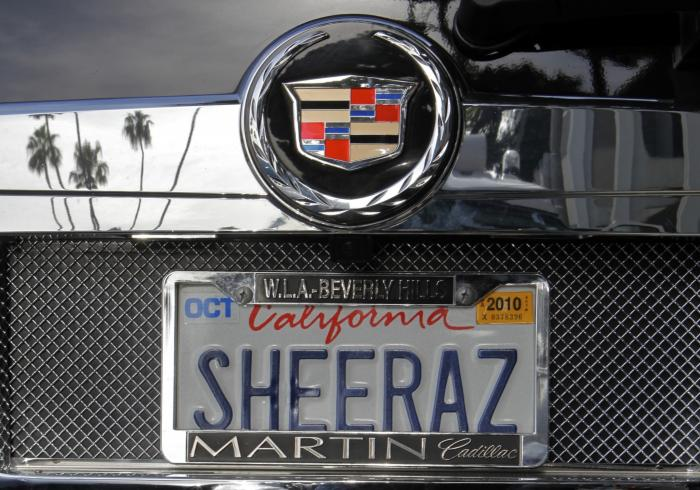 In this May 24, 2010, file photo, an SUV with a personalized license plate is seen in Beverly Hills, Calif.