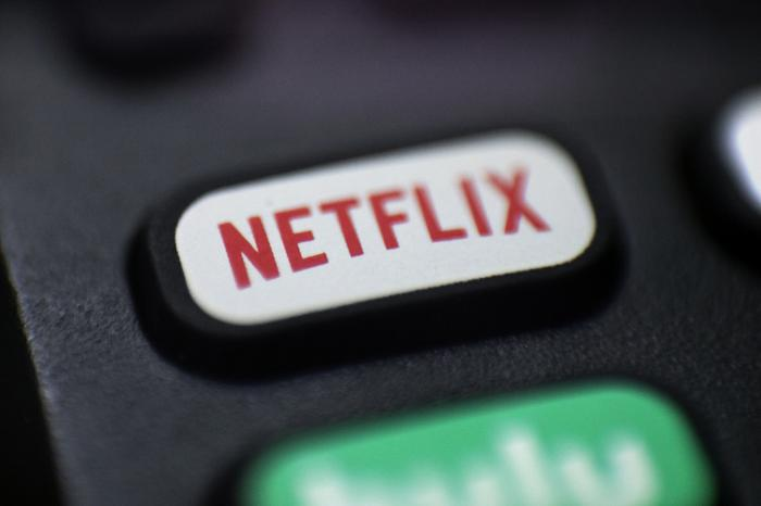 A logo for Netflix on a remote control in Portland, Ore.