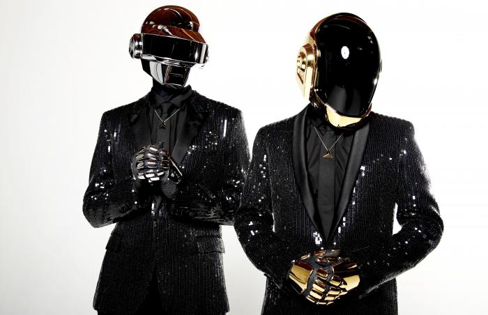 Thomas Bangalter, left, and Guy-Manuel de Homem-Christo, from the music group, Daft Punk, pose for a portrait in Los Angeles.