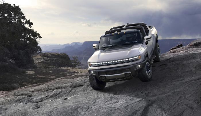 This photo provided by GMC shows the GMC Hummer EV, an electric pickup which will relaunch the Hummer brand