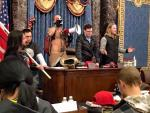 Watch: Amidst Violence, 'God Warrior' Jacob Chansley Leads Prayer in Senate Chamber